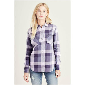 True Religion Women's Plaid Long Sleeve Shirt